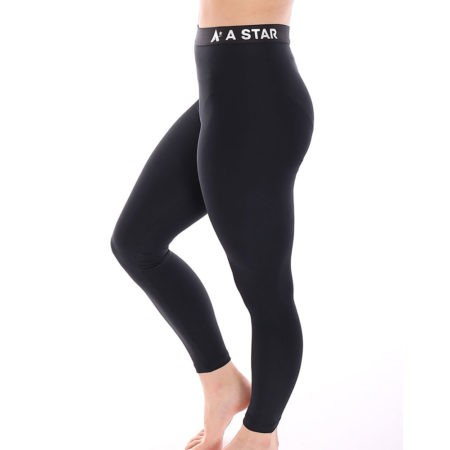 black lycra leggings with elastic waistband for the gymnastics