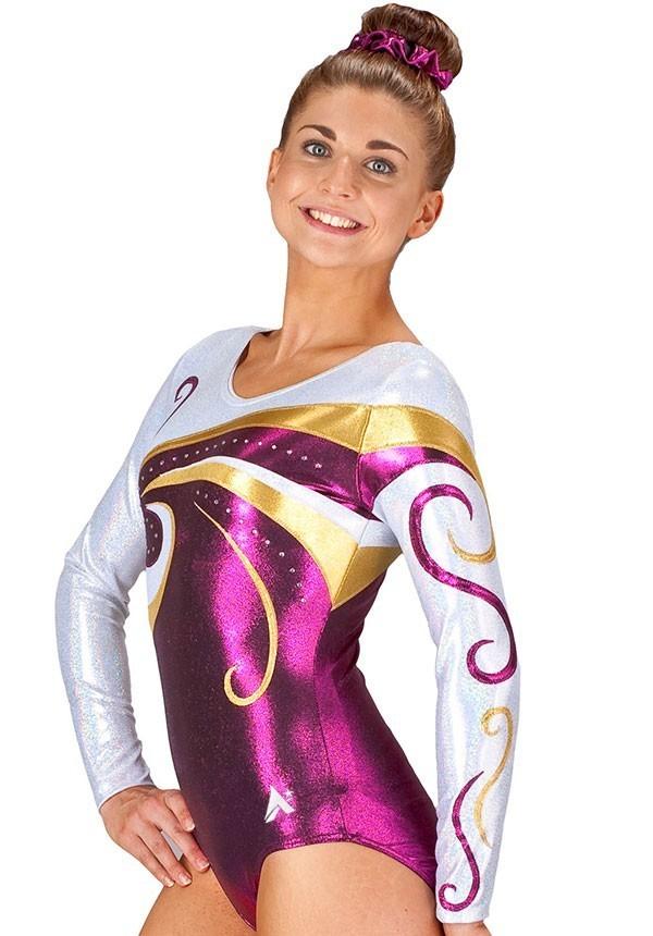 competition fancy girls gymnastics leotard purple long sleeved uk k77s35 s69d