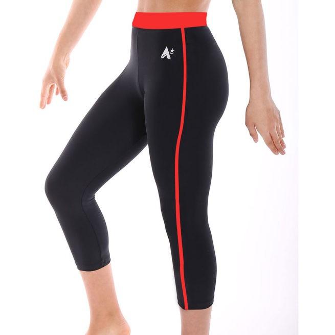 ladies workout gymnastics red microtex leggings