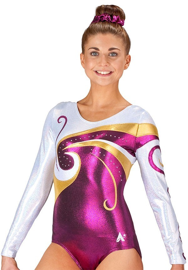 long sleeved pink purple gold fancy competition leotard gymnastics diam k77s35 s69d 1