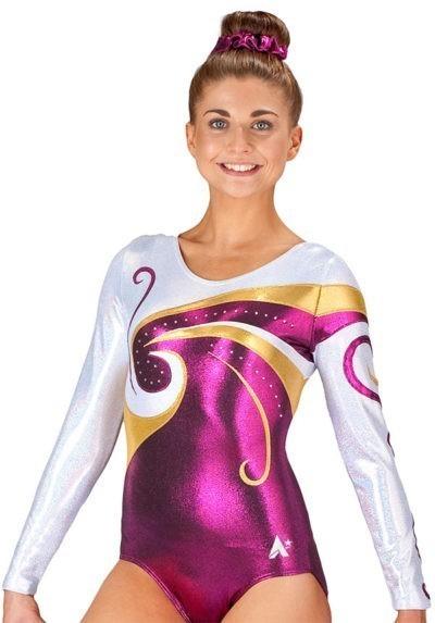 long sleeved pink purple gold fancy competition leotard gymnastics diam k77s35 s69d