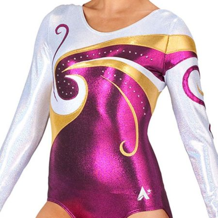 long sleeved pink purple gold fancy competition leotard gymnastics k77s35 s69d