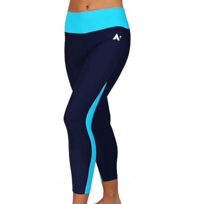 navy and turquoise microtex leggings runnings yoga