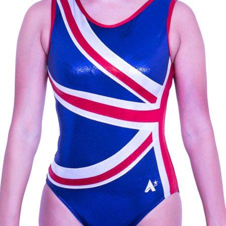 Z28S02 S51 girls gymnastics UK flag leotard