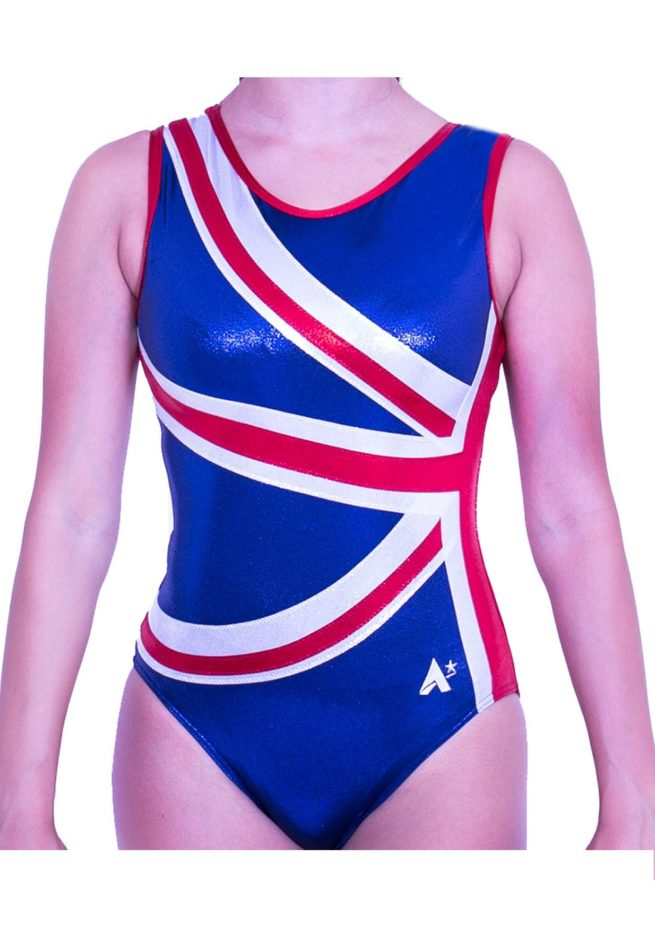 Z28S02 S51 girls gymnastics UK flag leotard