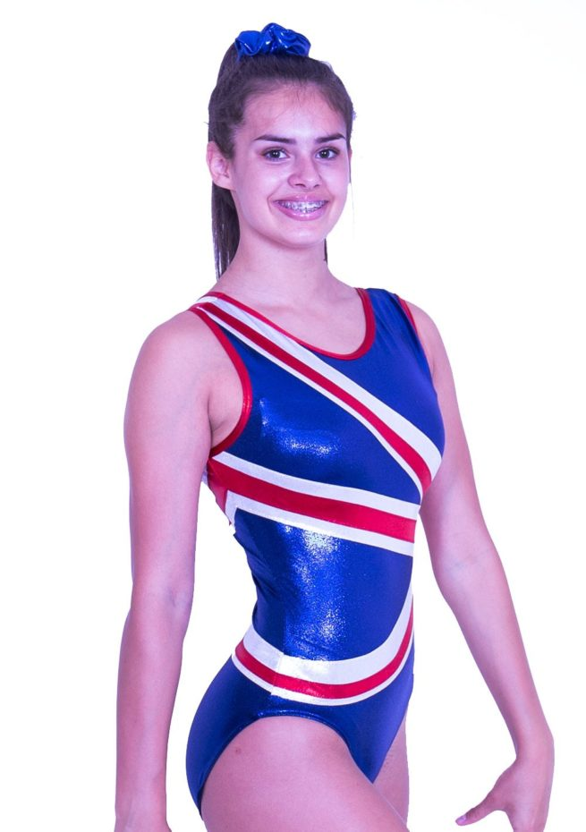 Z28S02 S51 gymnastics union jack leotard girls
