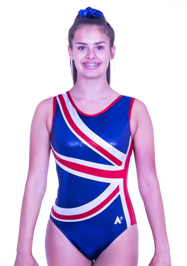 Z28S02 S51 union jack girls gymnastics leotard