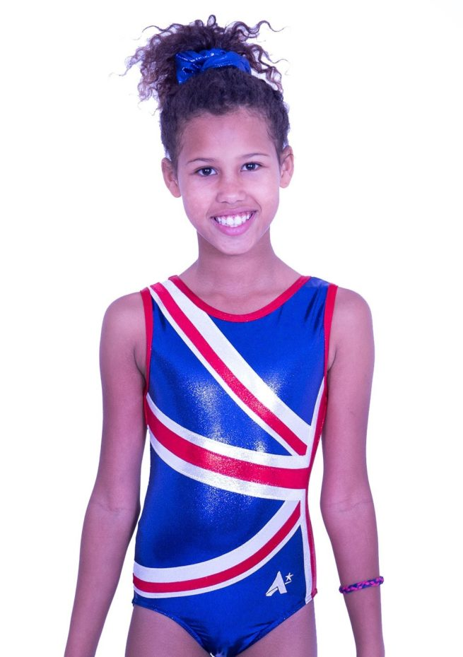 Z28S02 S51 union jack leotard navy red silver