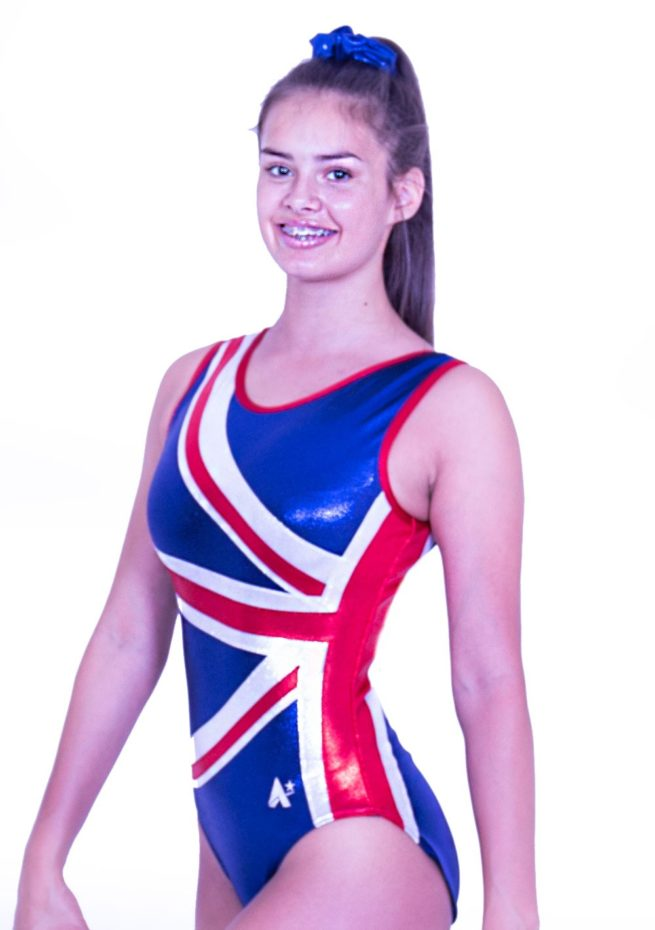 Z28S02 S51 union jack red white blue girls gym leotard