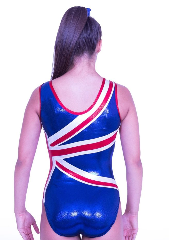 Z28S02 S51 union jack red white blue girls leotard