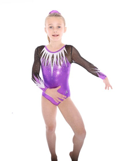 K429 VIOLET LEOTARD WITH DIAMANTE FRONT