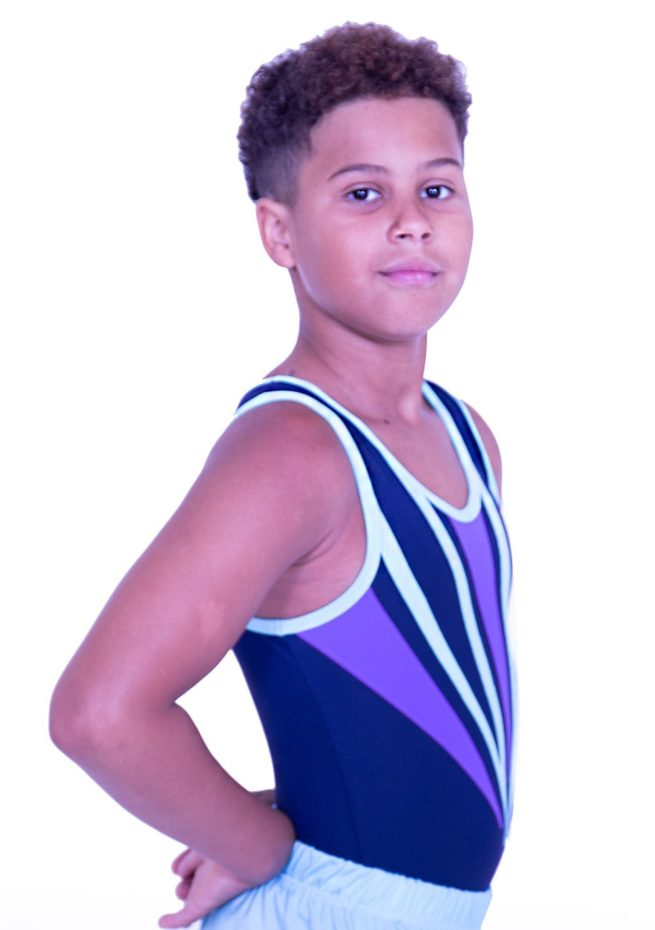 BV545N02 N32 navy and purple boys trampoline leotard in lycra