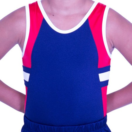 BV547J02 J51 boys trampoline leotard navy red