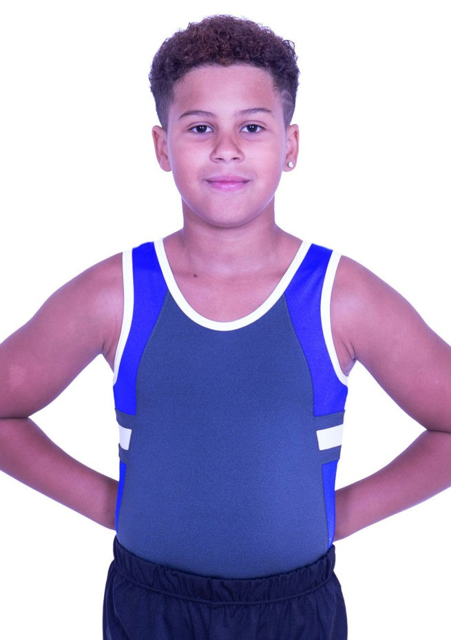 BV547J09 J23 boys sleeveless training gymnastics trampoline leotard grey