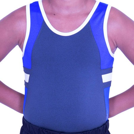 BV547J09 J23 grey and blue boys lycra tank leotard gymnastics