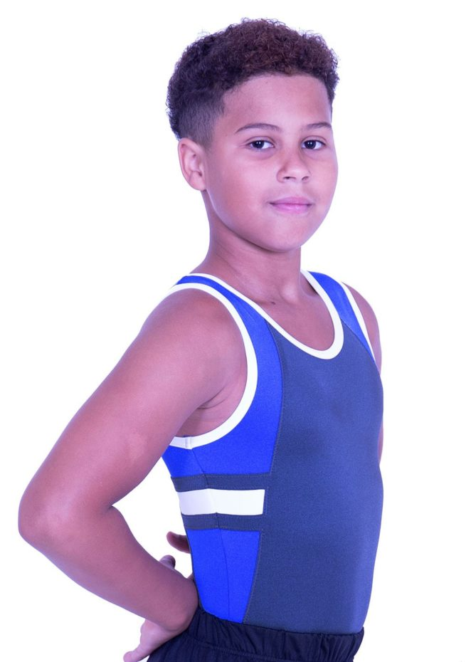 BV547J09 J23 sleeveless boys lycra training leoard grey royal blue