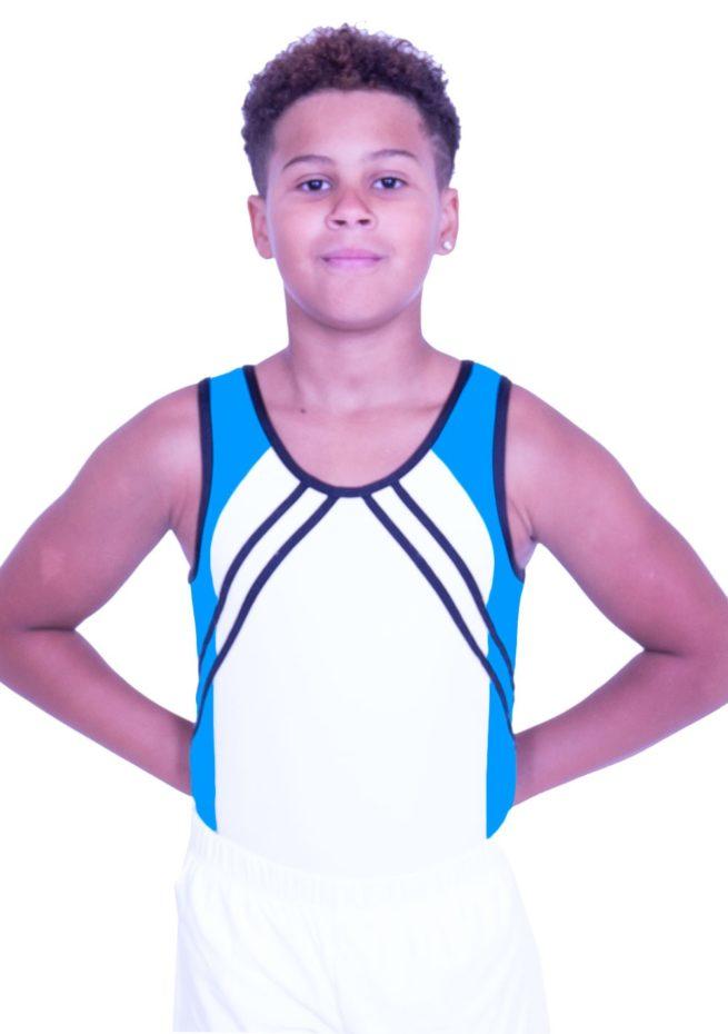 BV551 black white and turquoise blue boys gym leotard