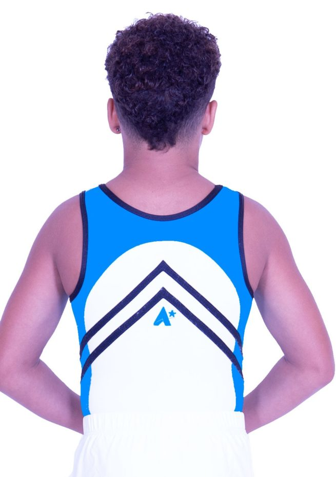 BV551 boys gymnastics leotard in white and turquoise blue