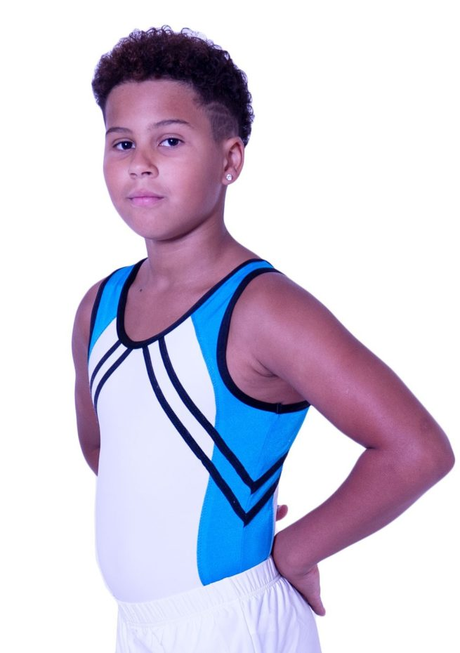 BV551 boys trampolining leotard in white and turquoise blue