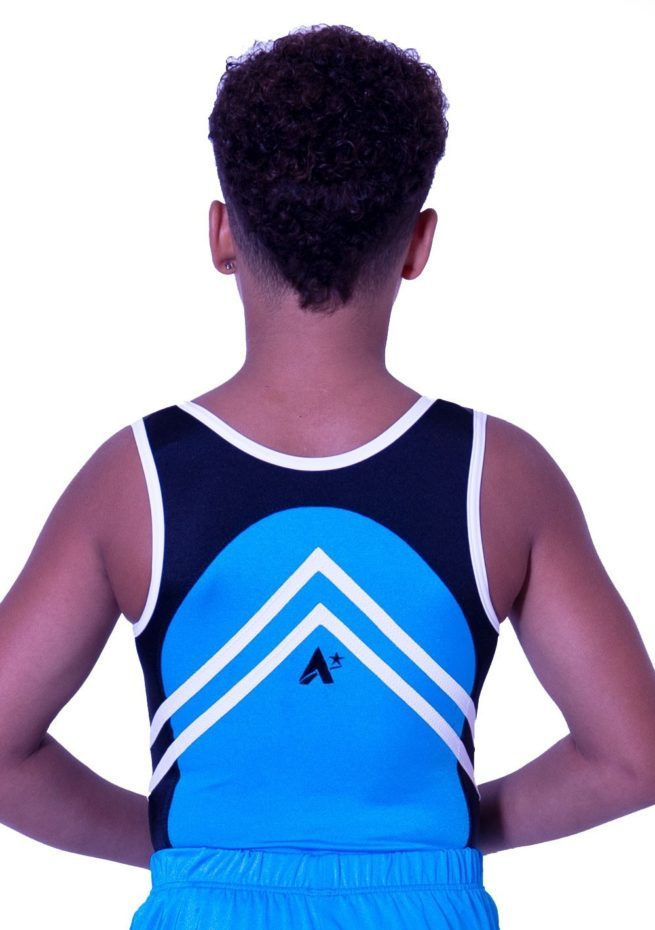 BV551J01 J52 black and blye lycra boys leotard trampoline