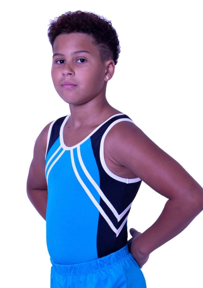 BV551J01 J52 black and turquoise lycra boys leotard