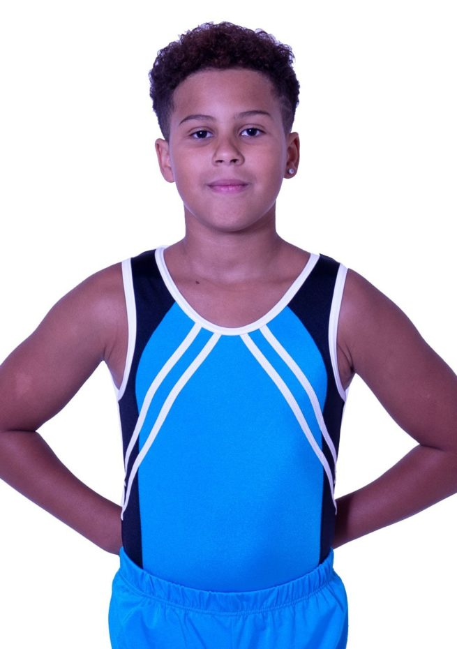 BV551J01 J52 boys gymnastics training lycra leotard blue and black