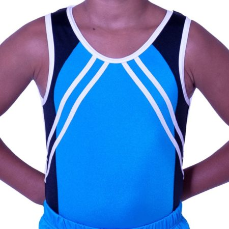 BV551J01 J52 boys training lycra leotard black and blue
