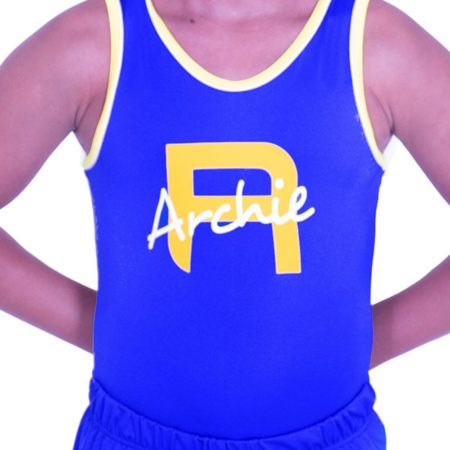 BVBJ07 PNN boys lycra gymnastics leotard with name