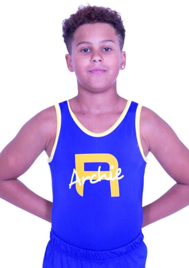 BVBJ23 PNN boys lycra gymnastics leotard with printed name