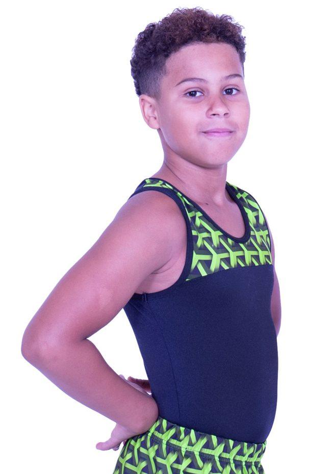 BVZ407J01 L146 black and green lycra leortard boys gymnastics leos