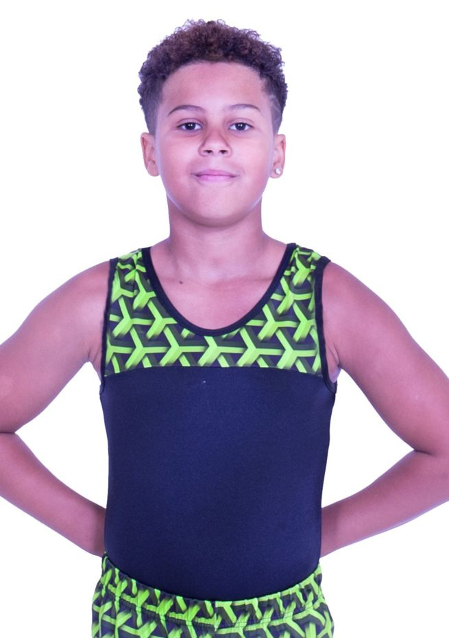BVZ407J01 L146 geometric illusion boys gymnastics training leotard black and green