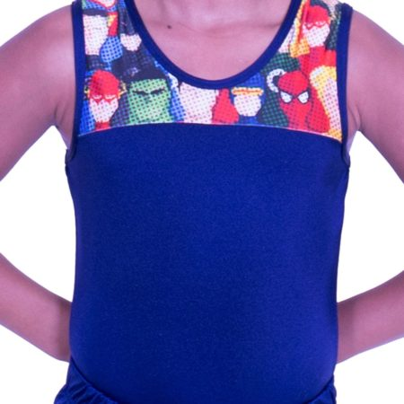 BVZ407J02 L96 navy lycra boys superhero cartoon gymnastics leotard