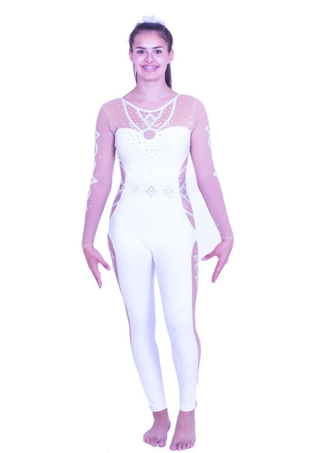 CS538J11 S69D girls white catsuit all in one leotard rhythmic gymnastics dance outfit