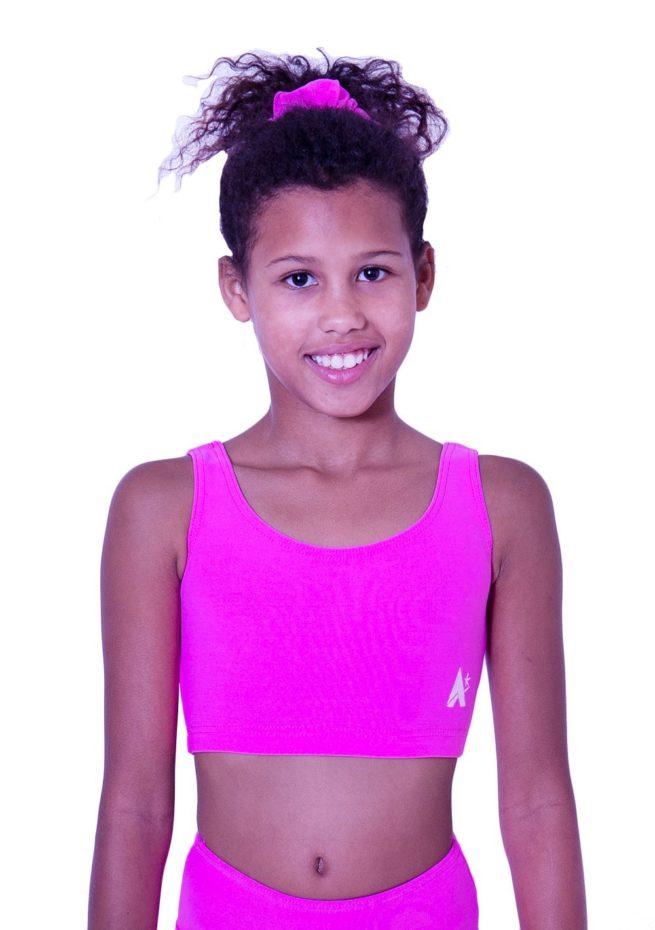 CT N05 girls pink lycra sports crop top training bra