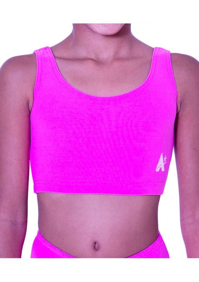 CT N05 pink crop top lycra gymnastics training top