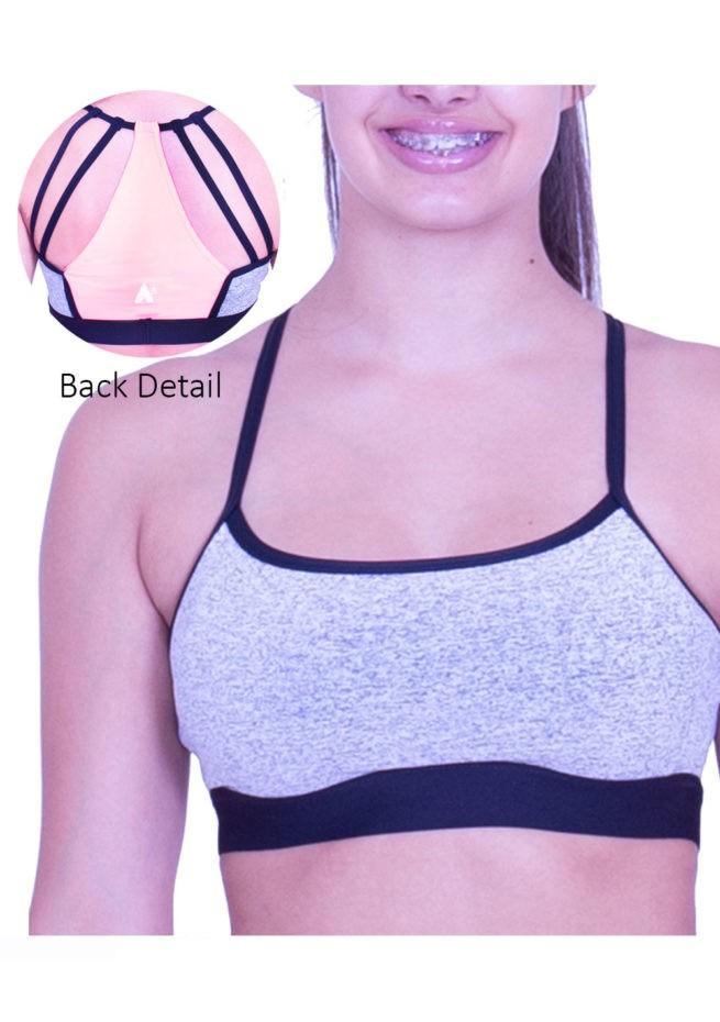 CT60N19 N54 girls grey open back crop top