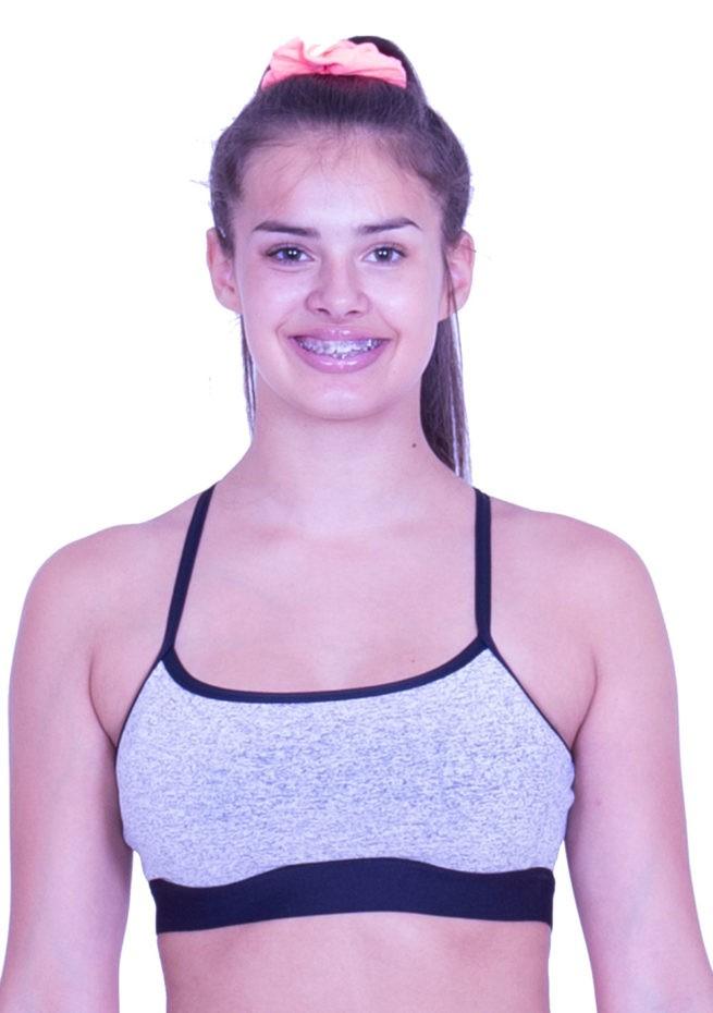 CT60N19 N54 girls grey sports bra open back crop top