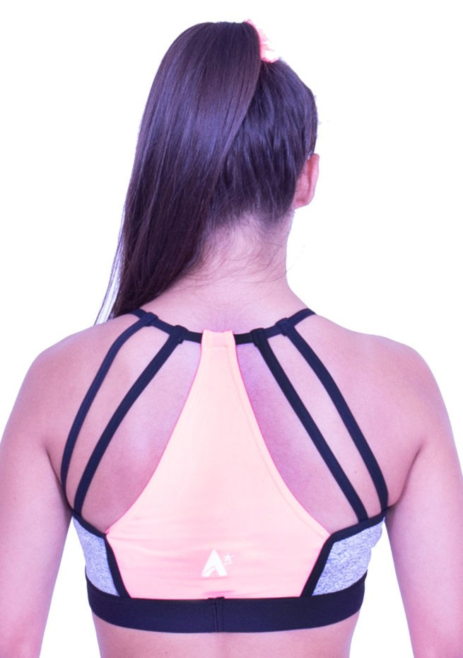 CT60N19 N54 grey sports bra open back crop top