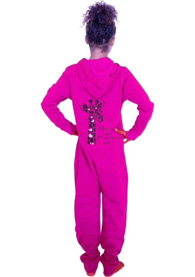 Cute pink girls onesie motivational giraffe print