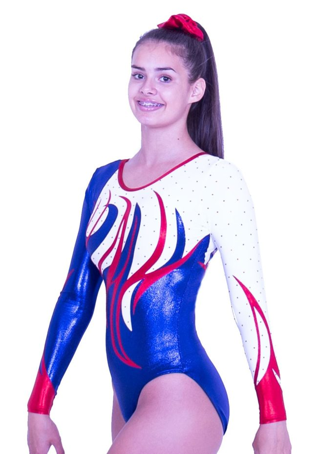 K170S02 J11D fancy navy and red sleeved gymnastics leo for girls