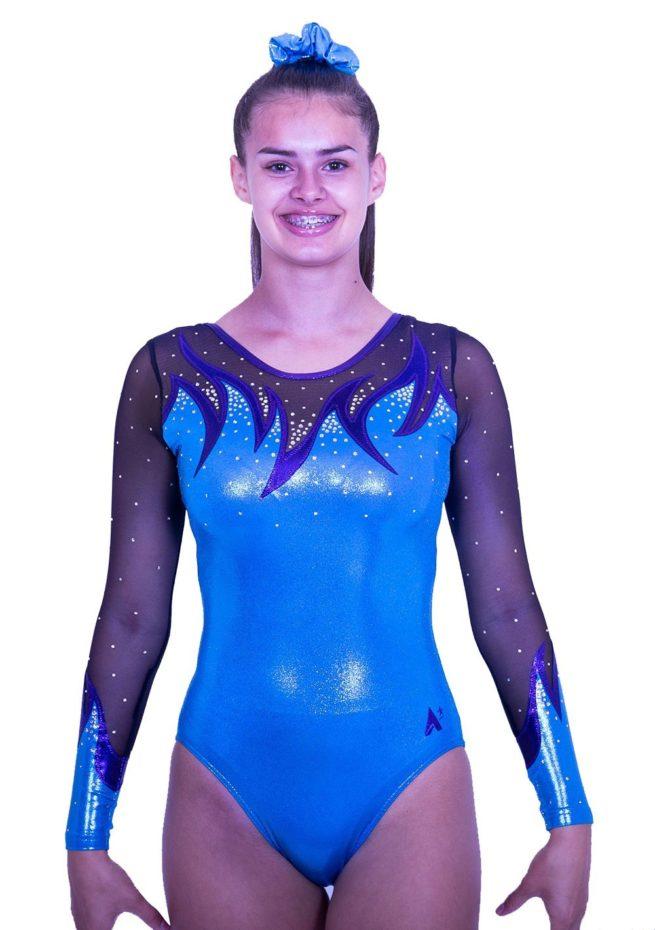 K416S52 S07D sleeved turquoise shimmer net girls gymnastics leotard 1