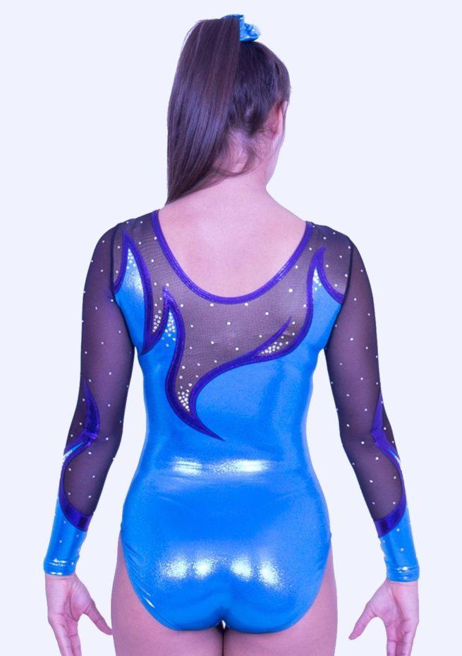 K416S52 S07D turquoise shimmer mesh girls gymnastics leotard