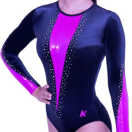 K470F01 S05D sleeved ladies fancy diamante leotard in black velvet with pink