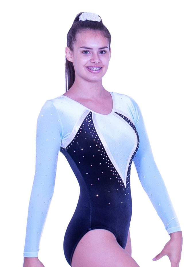 K486F01 F42D black velour sleeved leotard with pastle mint green sleeves and diamante