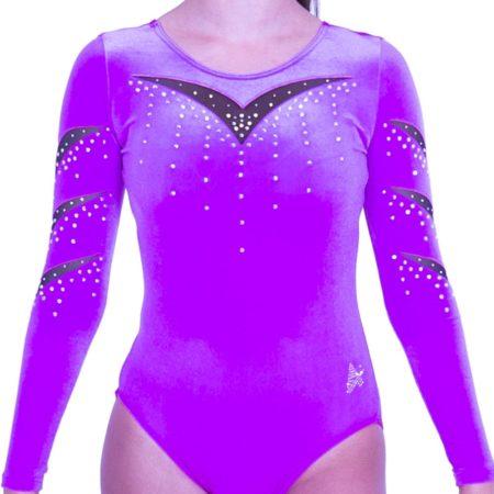 K561F45 A01D pink gymnastics leotard velvet mesh diamante