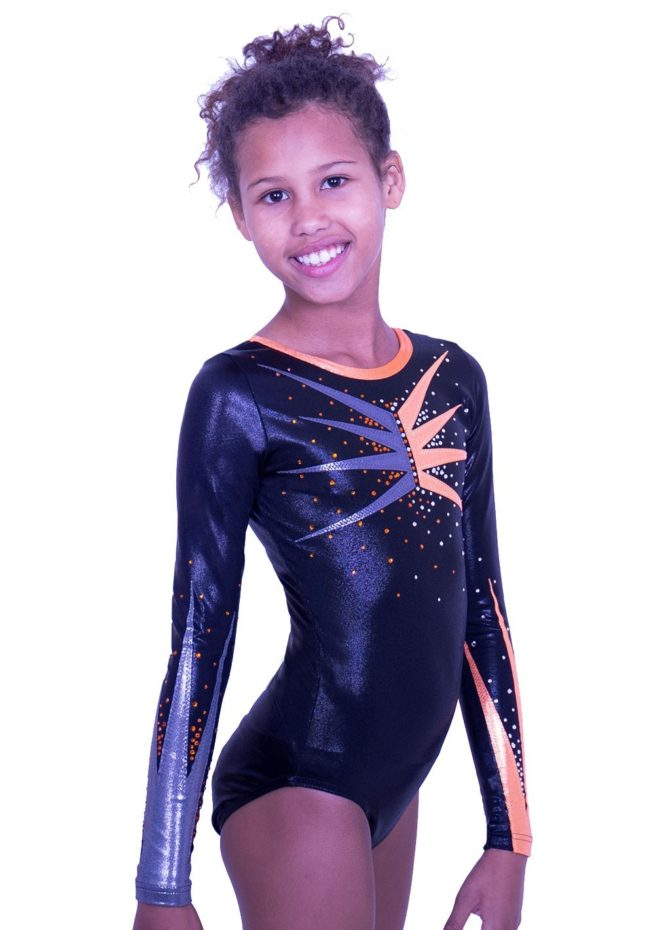 K584S01 S55D black and orange fancy competition leotard long sleeved mixed pair gymnastics outfits