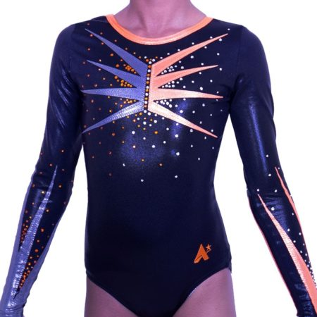 K584S01 S55D long sleeved black gymnastics competition leotard with orange detail