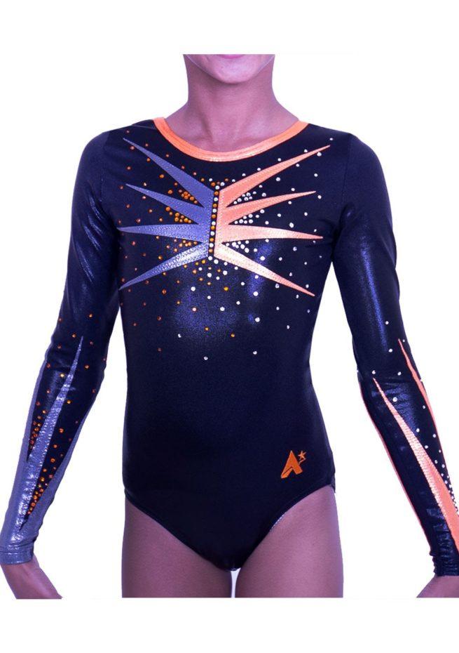 K584S01 S55D long sleeved black gymnastics competition leotard with orange detail