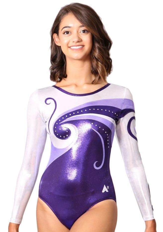 K77 sleeved gymnastics compeitition leotard in purple