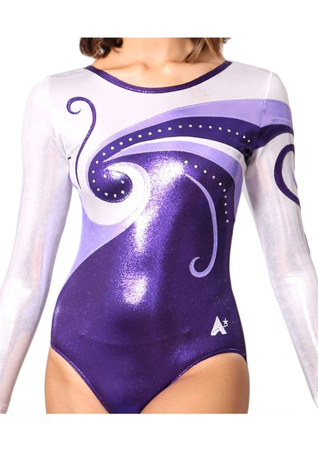 K77S07 S69D long sleeved purple and silver gymnastics leotard